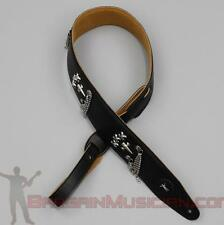 Leatherette Guitar / Bass Strap - With Skulls & Chains - Adjustable Sizing