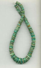 """GREEN MEXICAN NACOZARI TURQUOISE HAND-SHAPED DISC BEADS - 16"""" Strand - 385D"""