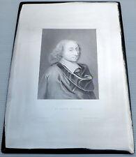 PLAQUE D'IMPRIMERIE LITHOGRAPHIQUE GRAVURE SUR CUIVRE XIXème Blaise PASCAL