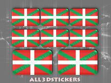 8 x Pegatinas 3D Relieve Bandera Euskadi Pais Vasco Todas las Banderas del MUNDO