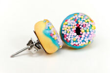 Donut studs - Blue donut studs - Doughnut Earrings- Kawaii Kitsch - Rockabilly