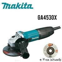 Makita GA4530X 6 Amp 4-1/2 in. Corded Angle Grinder w/ 4 Free Grinding Wheels