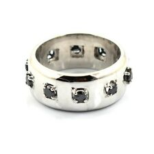 Certified Black Diamond Men's Band Ring,Engagement Ring In Heavy Setting