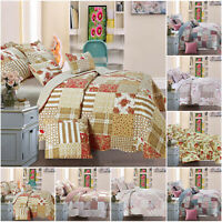Quilted Bed Throw Patchwork Bedspread Comforter Bedding Set with Pillow Cases