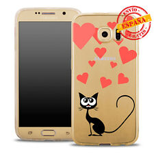 Funda gel / TPU Samsung A510 Galaxy A5 2016 transparente dibujos gato corazones
