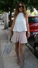 ZARA WOMEN PINK NUDE SKIRT FLARED Faux Leather Frilly Ruffle ON Hem Size s mini