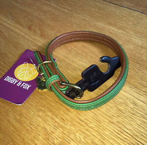 """Digby & Fox New Leather Dog Collar, Size SM (13""""-16"""" Neck) Green & Tan"""