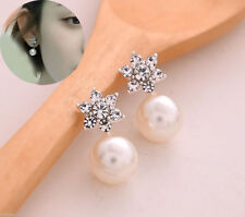 Mujer Elegante Pendientes de botón Cristal Perla Aretes Earrings Regalo