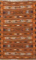 Geometric Reversible Kilim Area Rug Wool Hand-woven Oriental Orange Carpet 4'x6'