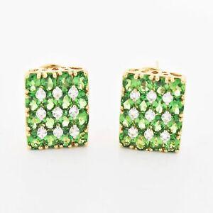 14k Yellow Gold Green Tourmaline & White Topaz Omega Back Earrings