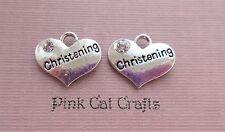 5 x CHRISTENING HEART Tibetan Silver & Rhinestone 3D Charms Pendants Beads