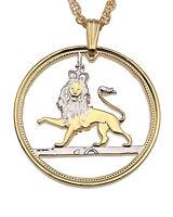 "Great Britain Royal Lion Pendant, Hand Cut British Coin, 1"" Diameter ( # 140 )"