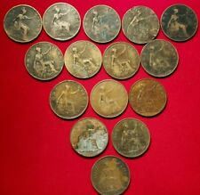 Lot of 15 Circulated Great Britain Large Cents 1897-1938  CCD4A
