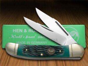 Hen & Rooster Copperhead Knife Green Pick Bone Stainless Pocket Knives 232-GPB