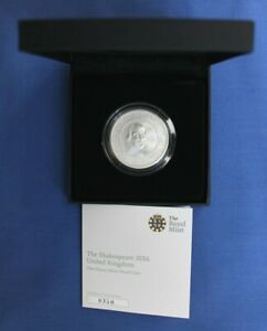 """2016 Royal Mint 1oz Silver Proof £2 coin """"Shakespeare"""" in Case with COA"""