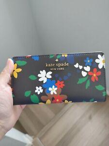 NWT Kate Spade Staci Sailing Floral Slim Bifold Wallet in Black Multi