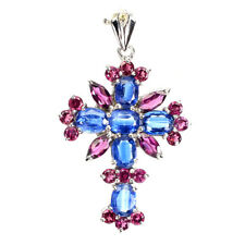 Unheated Oval Kyanite Rhodolite Tanzanite Gems 925 Sterling Silver Cross Pendant