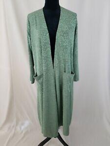 Lularoe women S Sarah duster textured pockets long sleeve green stretchy