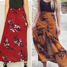 Fashion Women Summer Vintage Beach Long Skirt Floral Split Maxi Half Dress Skirt