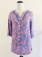 Vineyard Vines Womens Size L Pink Linen Seahorse Tunic 3/4 Sleeves Embroidered
