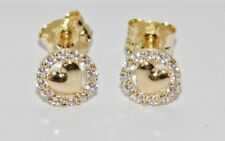 9ct Gold Diamond Heart Cluster Ladies Stud Earrings -
