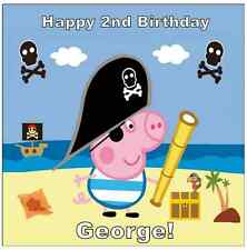 """George Pig Peppa Pig Personalised Cake Topper 7.5"""" Squared Edible Wafer Paper"""