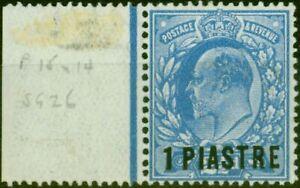 British Levant 1911 1pi on 2 1/2d Bright Blue SG26 P.15 x 14 Fine Lightly Mtd