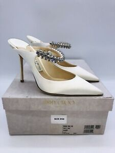 Jimmy Choo Women's BING 100 Stain Mules with Crystal Strap Ivory US 9 / EUR 39