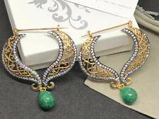 Maharajah Jewels Hand crafted for Pierced Earrings, Filigree w Green Onyx Dangle