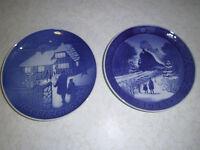 2 1973 Christmas Plates Royal Copenhagen & B & G Bing Grondahl Jule Aften (Eve)