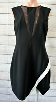 Finders Keepers Pencil Dress Size Large 12 Black White Sleeveless Exposed Zip
