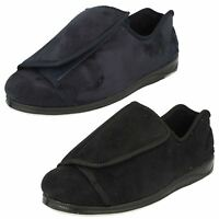 MENS PADDERS 'PETER' EXTRA WIDE STRAP SLIPPERS BLACK AND NAVY BLUE H/K Fitting