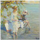 "Stunning Classical Coastal Art ~ Edward Cucuel Bathers ~ CANVAS PRINT 12x12"""