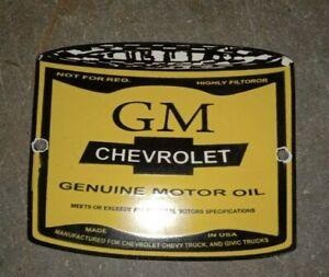 "Porcelain GM Chevrolet Enamel Sign 5"" x 6"" Inches"