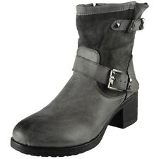 Womens Boots Zip Mid Heel Army Work Biker Buckle Ankle Fashion Shoes Size