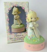 """Enesco Precious Moments 1990 I BELIEVE Mini Rosary / Trinket Box 580589 NOS 3"""""""