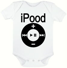 IPOOD WHITE BABY GROW, NOVELTY BABY SUIT,  SIZES 0 - 12 MONTHS