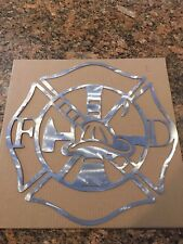 "Firefighter Maltese Cross CNC Plasma Cut Steel BARE METAL 17""X17"" FREE SHIPPING"