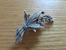 Hallmarked silver & marcasite lillies of the valley brooch