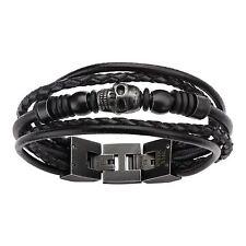 Inox Men's Multi Black Leather & Black Skull Beads Bracelet