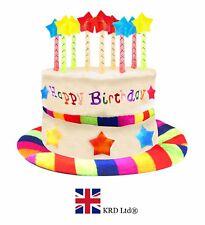 RAINBOW HAPPY BIRTHDAY CAKE HAT Kids Adult Headwear Fancy Dress Party Candles UK
