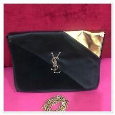 Vintage YVES SAINT LAURENT Parfum Gold Logo Leather suede Chain Strap Bag