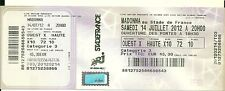 ticket billet stub UNUSED place concert MADONNA 2012 PARIS Stade de France