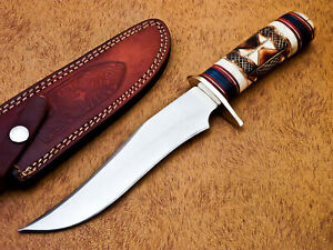 HAND FORGED STAINLESS STEEL HUNTING KNIFE-ENGRAVED BURN CAMEL BONE-MP-7503