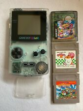 Nintendo GameBoy Color Console Clear 3 games set Wario Land 1 3 Kirby 2