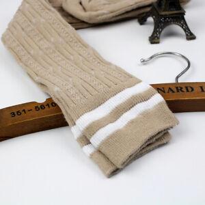 21Styles Women Girl Sheer Striped Thigh High Stockings Plus Size Over Knee Socks