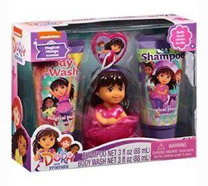 Dora and Friends Magical Mango Body Wash & Shampoo Set w/ Bath Hook and Scrubbie