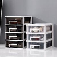 Mini Desktop Clear Plastic Storage Case 3 4 Tier Drawer Small Storage Box