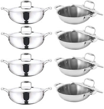 VINOD PLATINUM STAINLESS STEEL EXTRA DEEP WOK INDUCTION FRIENDLY WITH LID