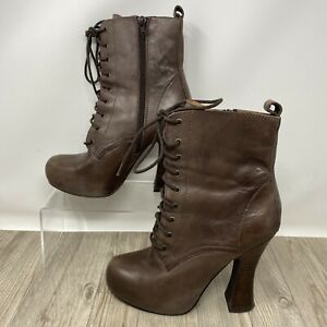 Office London Brown Leather Retro Steampunk platform Boots. UK Size 5. EXC CON.
